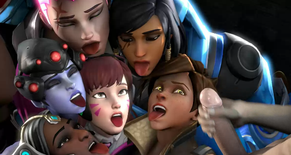 Photo of D.Va, Pharah, Symmetra, Tracer, Widowmaker y Zarya